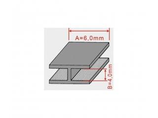 Olovni H profil 6x4mm/2m